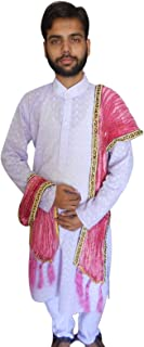 Men's Traditional Indian Pink Silk with Block Print Dupatta