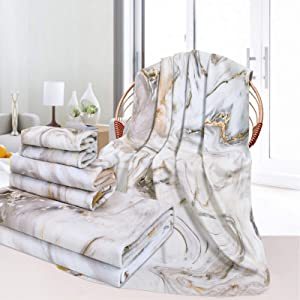 3Pcs White Marble Bath Towels Set Include Bath Towel, Hand Towel and Wash Towel, Decorative Ink Marble Beach Towel Set for Bathroom, Super Soft Water Absorbent Beach Towel for Travel, Swim, Outdoors