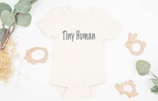 Tiny Human Organic Baby Bodysuit, New Baby Gift, Gender Neutral Baby Gift, Neutral Bodysuit, Newborn Outfit, Infant One Piece, Announcement Active