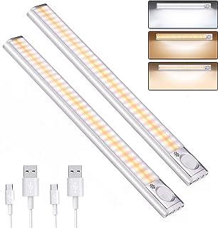 DFGOTOP Lámpara Luces Armario Sensor RecargableLuz LED Armario Cocina Pasillo EscalerasLuz Sensor Magnética USB Recargab...