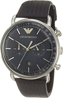 Emporio Armani Men's Dress Stainless Steel Quartz Watch with Leather Calfskin Strap, Blue, 22 (Model: AR11105)