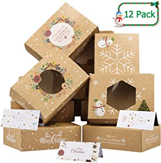Christmas Cookie Boxes with Christmas Card Bulk Kraft Paper, Large Holiday Christmas Food, Bakery Candy Cookie Gift Boxes ...