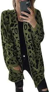 GFBVC Cárdigan De Mujer Tejido Cardigan Mujeres Otoño e Invierno Europa y América Lévecha Suelta de Leopardo Estampado de ...