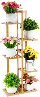 Foldify Bamboo Plant Stand Indoor&Outdoor Multiple Flower Pot Holder Shelf Rack Unit for Patio Garden Corner Balcony Living Room(6 Flowerpots)