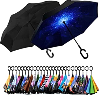 Spar. Saa Double Layer Inverted Umbrella with C-Shaped Handle, Anti-UV Waterproof Windproof Straight Umbrella for Car Rain...