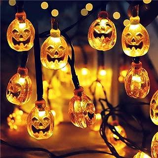 Mosunx Halloween Pumpkin String Lights, Solar Powered Jack-O-Lantern Decorative Lights, Waterproof Decor for Patio, Garden, Parties, Yard (Yellow, 23ft (7m), 50LED)