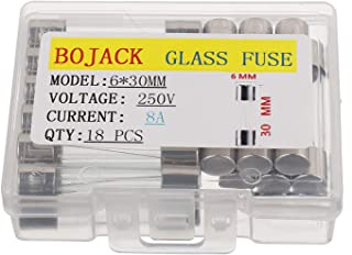 BOJACK 6x30mm 8A 8amp 250V 0.24x1.18 Inch F8AL250V Fast-Blow Glass Fuses(Pack of 18 Pcs)