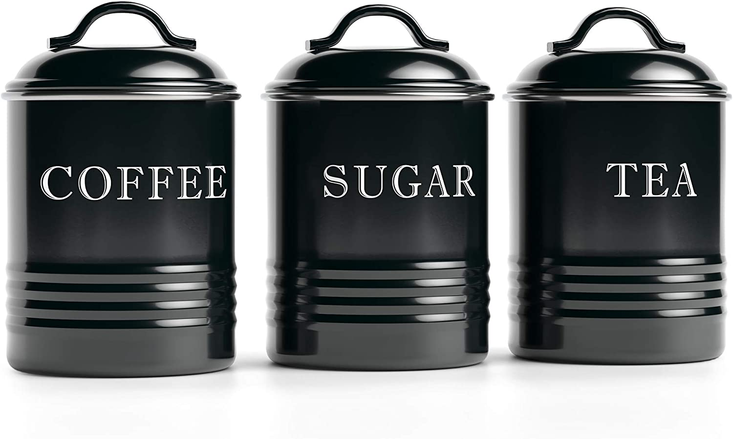 Amazon Com Barnyard Designs Airtight Kitchen Canister Decorations With Lids Black Metal Rustic Farmhouse Country Decor Containers For Sugar Coffee Tea Storage Set Of 3 4 X 6 75 Home Improvement
