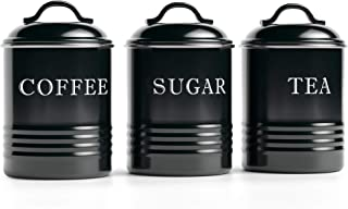 """Barnyard Designs Airtight Kitchen Canister Decorations with Lids, Black Metal Rustic Farmhouse Country Decor Containers for Sugar Coffee Tea Storage (Set of 3) (4"""" x 6.75"""")"""