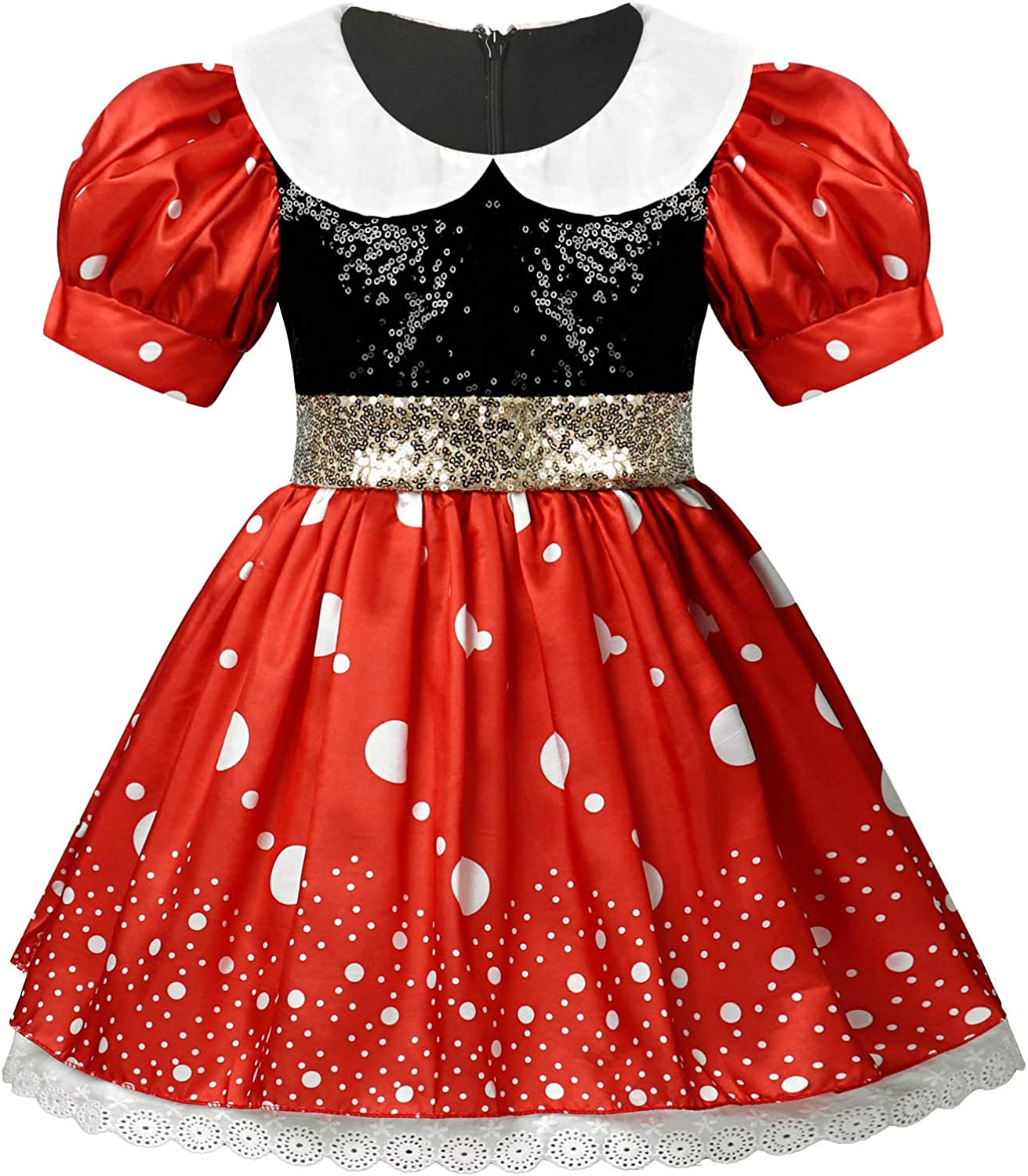 YOOJIA Kids Girls Puff Sleeve Special Occasion Dresses Shiny Sequins Bowknot Princess Dress Holiday Outfits Carnival