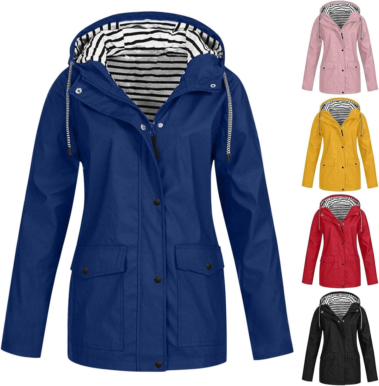 Women's Waterproof Rain Jacket All Solid Rain Jacket Outdoor Raincoat Hooded Windproof Trench Coat Travel Jackets