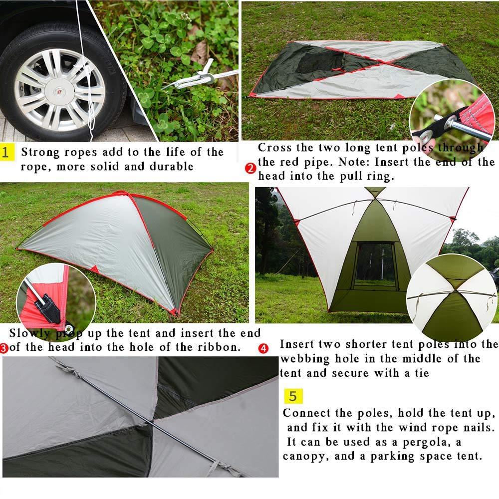 Arpa de Autos para vehículos Familiares y vehículos pequeños SUV/MPV Acampar al Aire Libre Camping Familiar Cuenta de Cola de Coche Cuenta de Lado de Lado Car Tiendas,White: Amazon.es: Deportes y aire