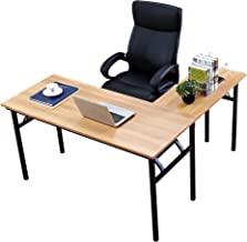 Need 55 inches x 55 inches L-Shaped Folding Computer Desk, One-Step Assembly, L Desk Home Office Desk Workstation Desk, Te...