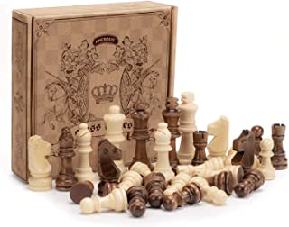 "Amerous Chess Pawns Wooden Chessmen with 3.03"" King Nature Wood Chess Pieces Hand Carved Figure Figurine, French Staunton Style"