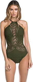 Womens Color Play High Neck One-Piece Bay Leaf SM