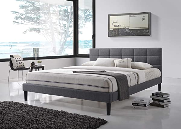 LuXeo Essnetial ALT Q6701 GRY Lexington Bed Frame Queen Gray