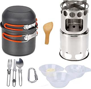 Camping wood stove portable wood stove, portable alcohol stove outdoor hiking camping set for outdoor cooking-orange