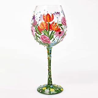 """Designs by Lolita """"Spring Bling"""" Hand-painted Artisan Super Bling Wine Glass, 22 oz."""