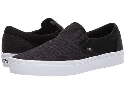 Vans Classic Slip-Ontm ((Herringbone) Black/True White 1) Skate Shoes