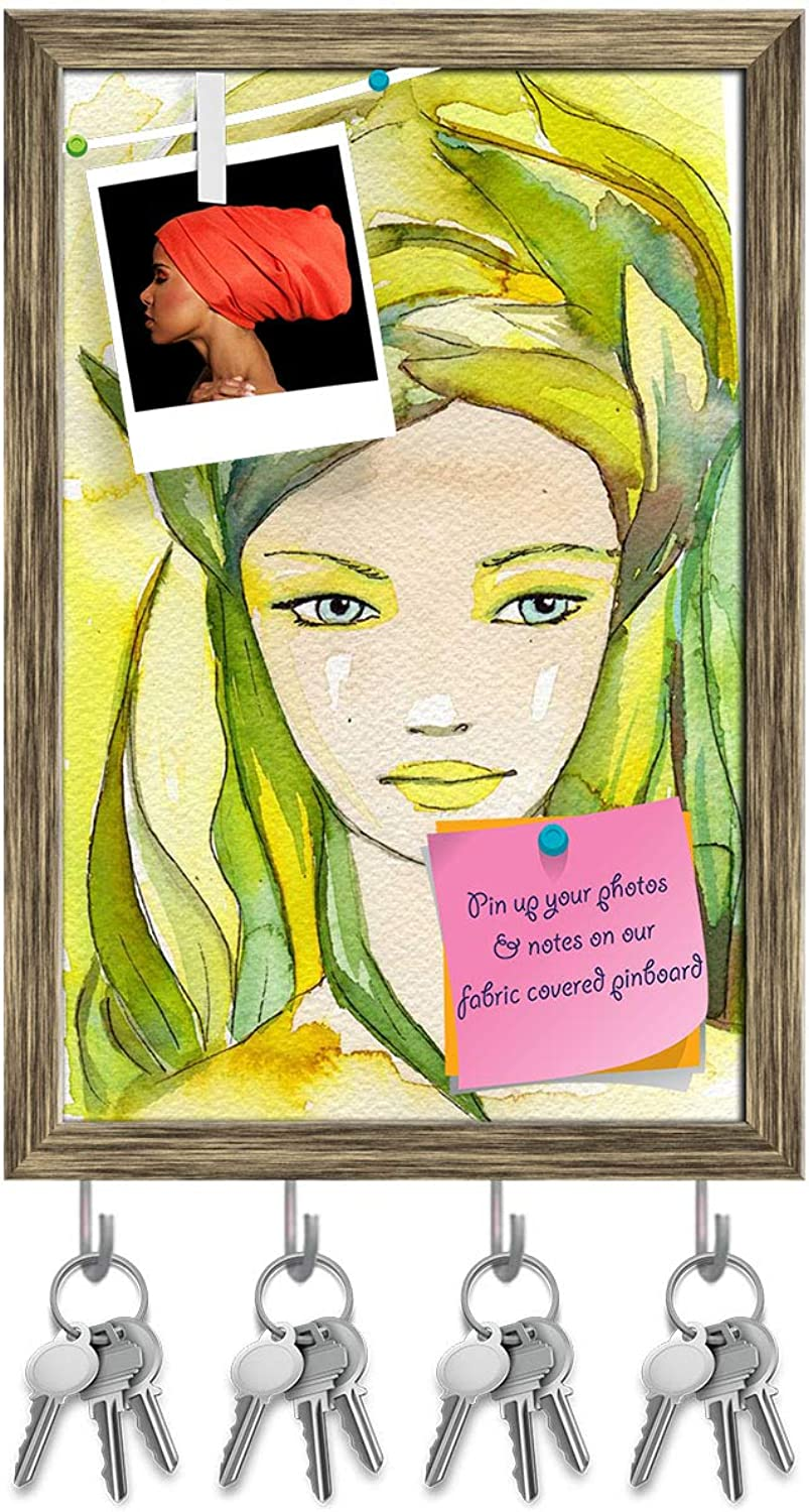 Artzfolio Portrait of A Young Woman Key Holder Hooks   Notice Pin Board   Antique golden Frame 12 X 18Inch