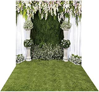 Allenjoy 5x7ft White Flower Wedding Ceremony Backdrop Curtain Banner Green Grass Lawn Arch Background for Newlyweds Photo Photography Engagement Banquet Anniversary Shoots Photo Booth