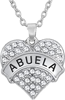 Lovely Heart Shape with Abuela Engraved Pendant Necklace for Grandma Gift Jewelry