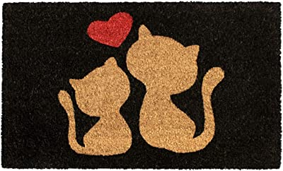 "Rugsmith Red Cats Love Machine Tufted Doormat, 18"" x 30"", Black"
