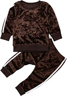 Avidqueen Toddler Baby Girls Clothes Set Velvet Long Sleeve Top and Pants Kids Fashion 2pcs Outfits