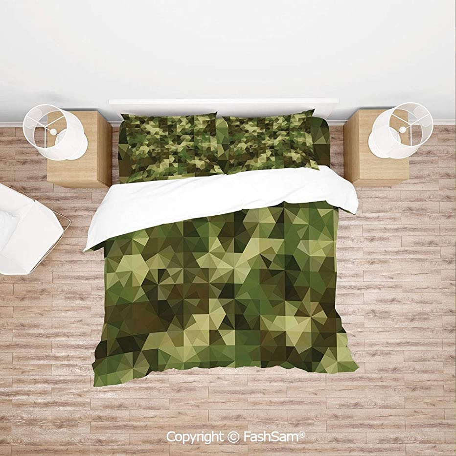 FashSam Duvet Cover 4 Pcs Comforter Cover Set Abstract Military Camouflage Pattern with Fractal Look Geometric Triangles Shapes Mosaic Decorative for Boys Grils Kids(King)