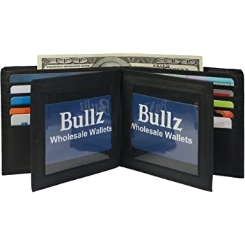 Bullz European Hipster Mens Wallet Thick Large Bifold 20 Cards and 2 ID Window, Black, one size