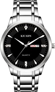 Men's Silver Watch, KICAD Waterproof Luxury Date Calendar Casual Dress Wrist Watch with Black Dial