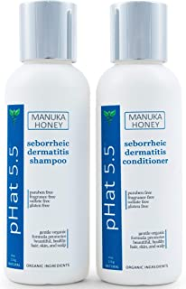 Sulfate Free Shampoo and Conditioner Set for Seborrheic Dermatitis Relief - Severe Dry & Itchy Scalp Treatment with Manuka Honey, Aloe Vera & Coconut Oil - Safe for Color Treated Hair (4 oz)