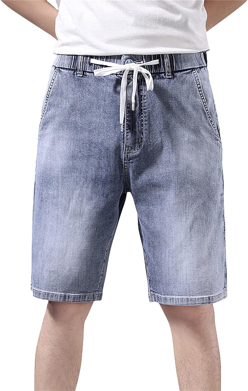 Men's Washed Straight Slim Jean Short-pant Elastic Waist Drawstring Loose Fit Denim Shorts Summer Knee Length Short Jeans