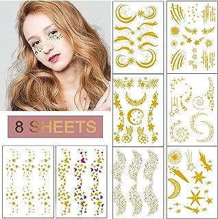 Ooopsi Face Glitter Tattoo Sticker - 8 Sheets Metallic Flash Tattoo Sticker Face Jewels for Women Girls Make Up Dancer Costume Parties Musical Festivals, Shimmer Glitter Gold Tattoos, Waterproof
