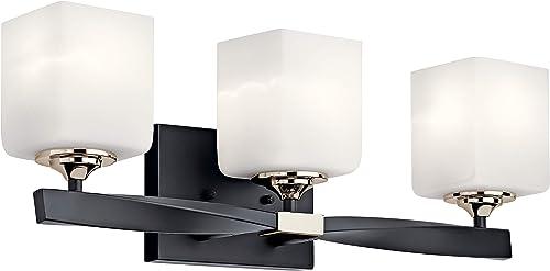 "high quality Kichler high quality 55002BK popular Marette Vanity, 3-Light 225 Total Watts, Black,22.75"" 3-Light sale"