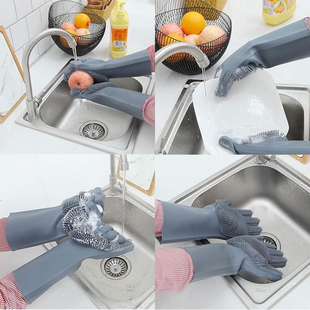 Bleu Gants de Nettoyage Cuisine m/énage Lavage de Vaisselle et Voiture Brosse /à Gants r/ésistant /à la Chaleur pour Nettoyage Lomire Paire de Gants Magique r/éutilisable en Silicone Animaux