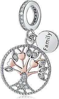 5b2ad101f Abalorio de plata de ley 925 con diseño de árbol de la vida familiar,  colgante
