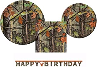 Hunting Camo Plates, Napkins and Happy Birthday Jointed Banner for 16 Guests