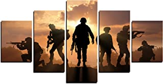 MailingArt Modern Home and Office Wall Decor 5 Panels Canvas Prints Six Military Soldier Silhouettes Photos to Prints Painting on Canvas (16x24inchx2/16x32inchx2/16x40inchx1)