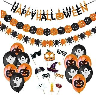 Halloween Decoratie Set Binnenshuis - Happy Halloween Griezelig Garland, Pompoenen en Spinnen Wimpelsluiting, Griezelig Ha...