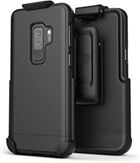 Encased Galaxy S9 Plus Belt Case, [SlimShield Series] Protective Grip Case with Holster Clip for Samsung Galaxy S9+ (2018 Release) Smooth Black