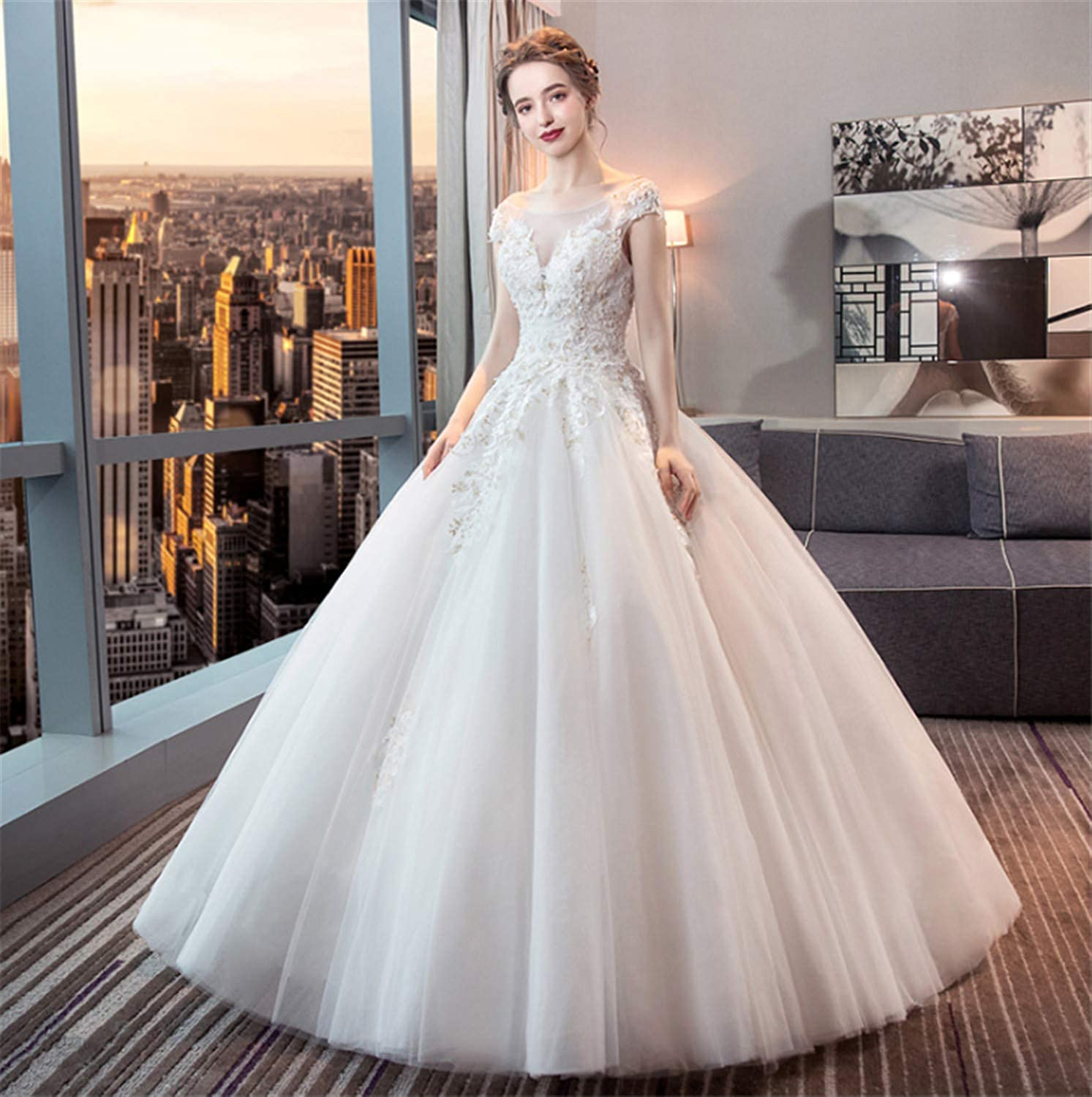 Wedding Dress,Stylish Ladies Backless Round Petticoat Wedding Dress with Lace Perfect Princess White