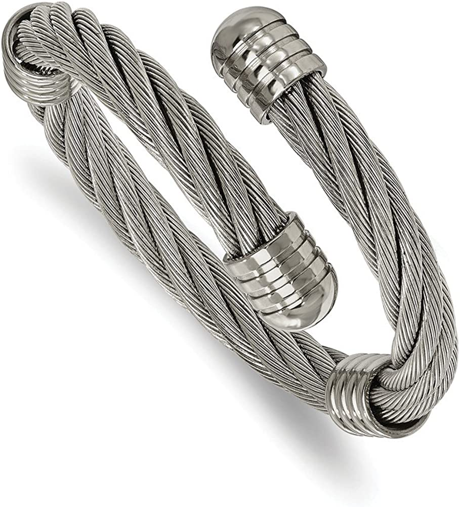 Stainless Steel Polished Adjustable Twist Wire Cuff Bangle (17mm)
