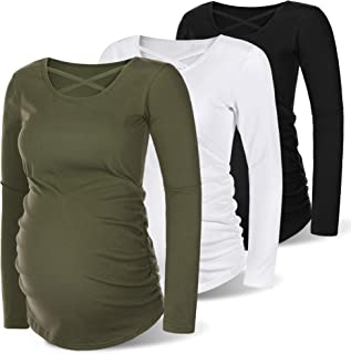 Sponsored Ad - Rnxrbb 3 Pack Maternity Shirts Long Sleeve Fall Winter Maternity Tops Ruched Pregnancy Clothes Casual Warm ...