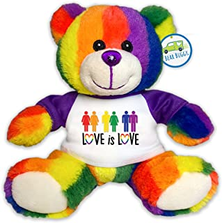 "Bear Buggy Love is Love Plush Animals by RGU (Rainbow Pride Teddy, 6"")"