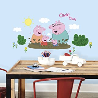 RoomMates RMK3186GM Peppa The Pig Family Muddy Puddles Peel And Stick Giant Wall Decals,Multicolor