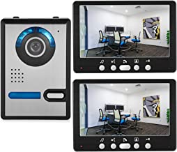 Videodeurbel, Intercom, 7 Inch Videodeurtelefoon Nachtzicht Surveillance Home Security System Kit,1camera + 2monitor