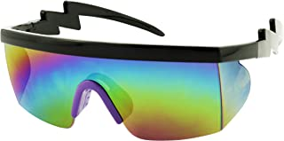 ShadyVEU Semi Rimless 80s Neon Rainbow Mirrored Rave Shades Crooked ZigZag Bolt Arm Retro Sunglasses