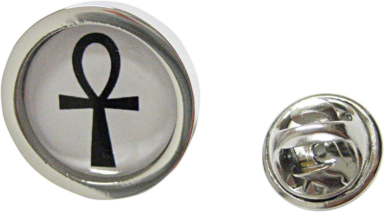 Kiola Designs Bordered Ankh Cross Pendant Lapel Pin
