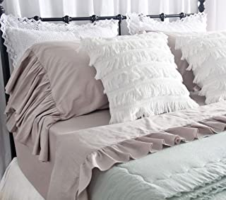 Queen's House Solid Color Taupe Bed Sheet Sets 4-Piece Deep Pocket Queen Sheets-Style D